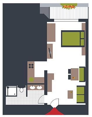 Zimmerskizze Appartement Markus