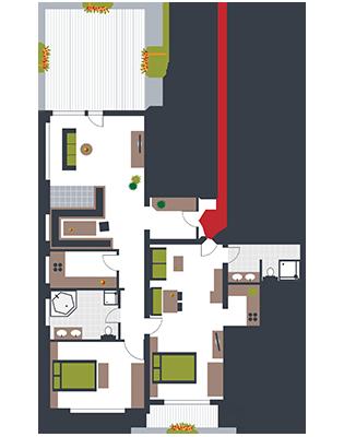 Zimmerskizze Kombi-Appartement Seefeld-Markus