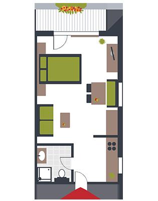 Zimmerskizze Appartement Leutasch