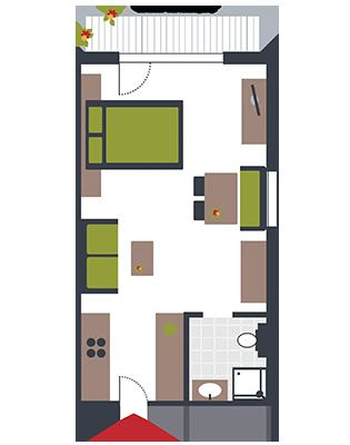 Zimmerskizze Appartement Mathias