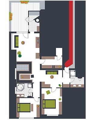 Zimmerskizze Appartement Reitherspitz